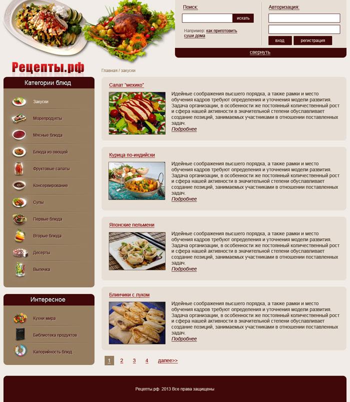 Кулинарного сайта цена 300 руб №15880