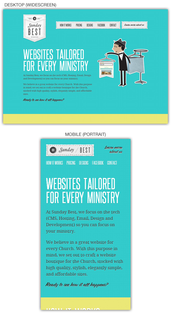 Responsive web design example: Sunday Best