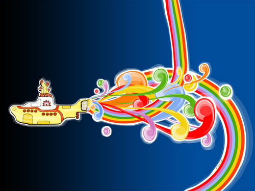 Little Yellow Submarine vector wallpaper