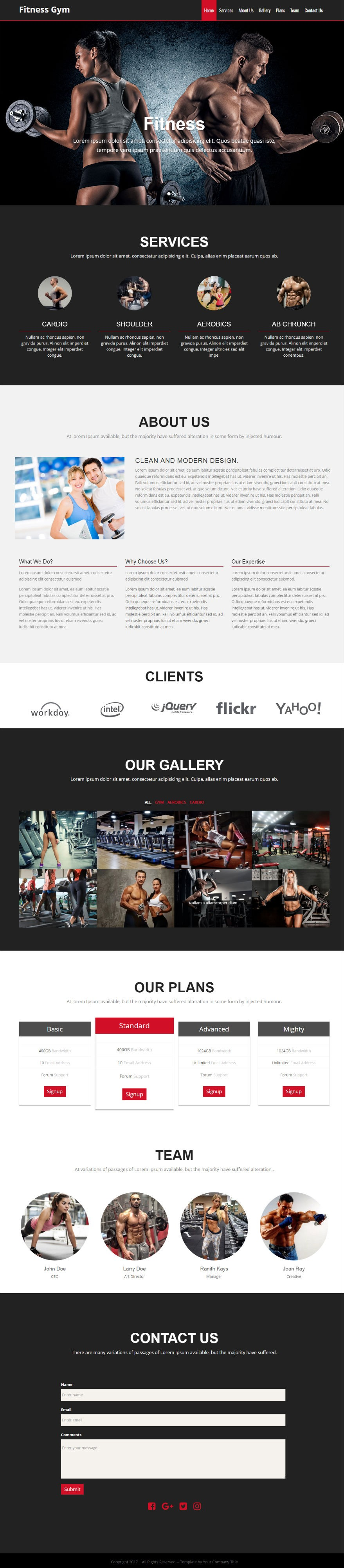 Landing page - Fitness Gym