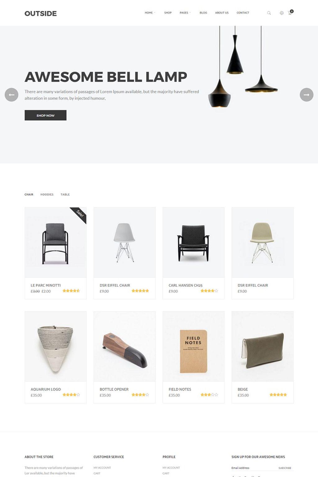 WooCommerce шаблон готовый интернет-магазин, для дизайна интерьеров и мебели