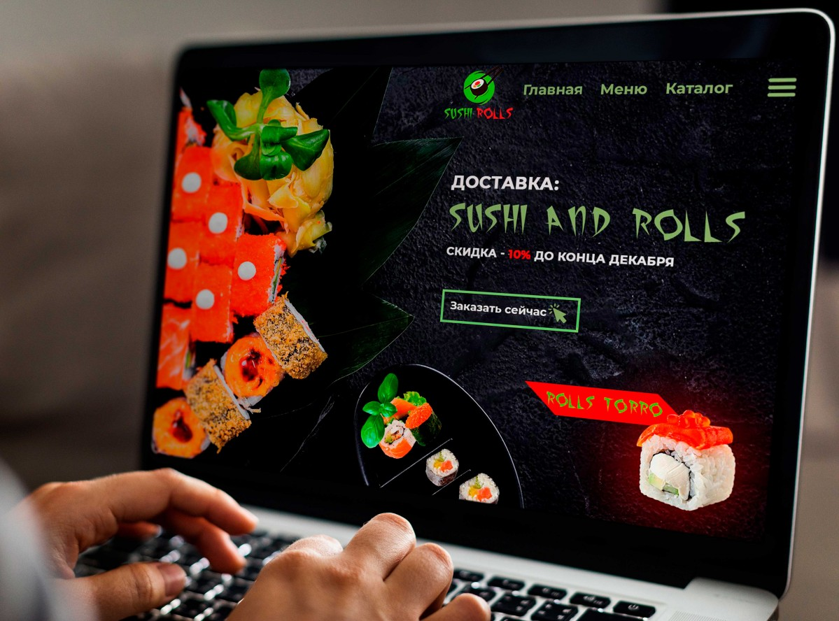 Дизайн сайта PSD  Concept landing page sushi and rolls