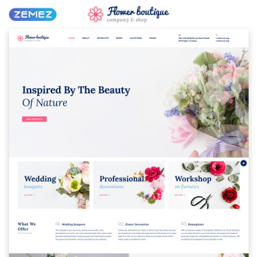 HTML шаблон для цветочного магазина