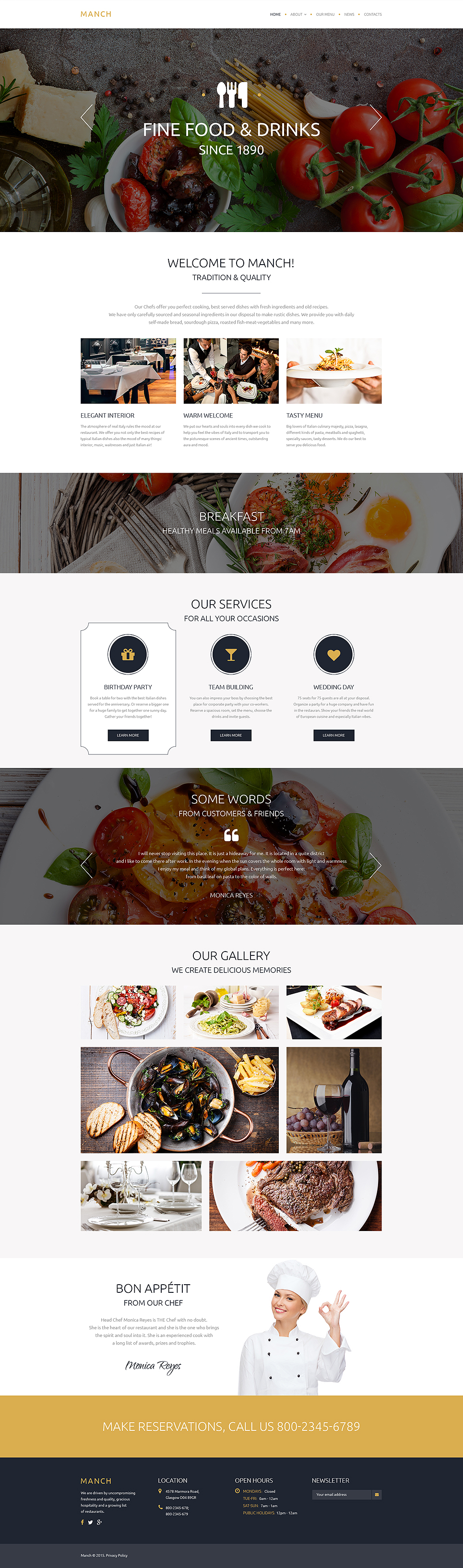 Cafe Amp Restaurant Free Website Templates Template Monster